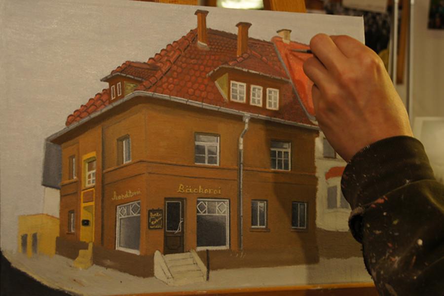 """""""Die Bäckerei in Weimar""""...Öl auf Leinwand 2011, 50x40 cm"""