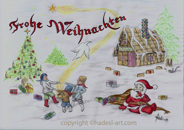"""""""Weihnachtskarte""""...Bunt-, Copic/Touchstifte auf Papier 2014, 30x20 cm"""