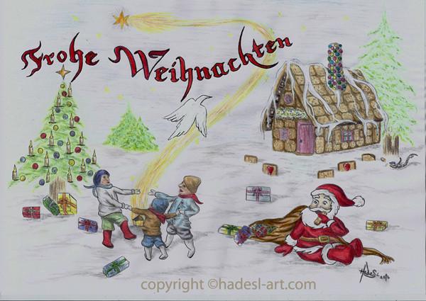 """""""Weihnachtskarte""""...Bunt-, Copic/Touchstifte auf Papier 2014  (21 cm x 29,7 cm)"""