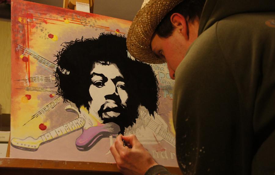 """Jimi Hendrix""... Acryl auf Holz 2012, 60x50 cm"
