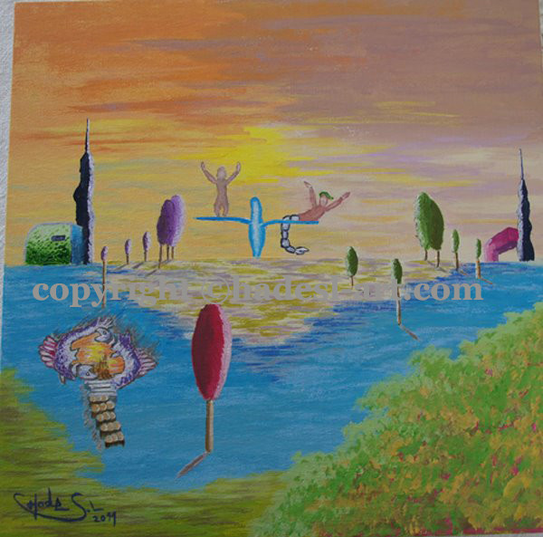 """Symbol wieder Leben""...Acryl auf Leinwand 2011, 20x30 cm"