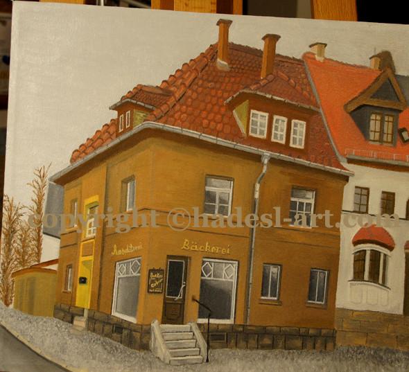 """""""Die Bäckerei in Weimar""""...Öl auf Leinwand 2011  (30 cm x 50 cm)  verkauft"""