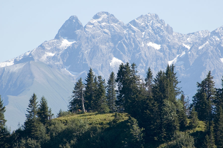 Blick vom Riedberger Horn zur Trettach, Mädelegabel, Hochfrottspitze, Bockkarscharte