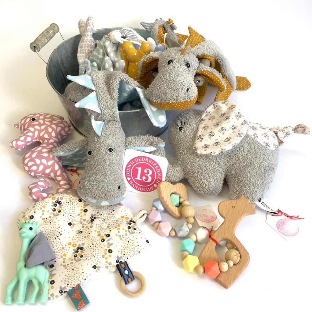 Drachennuschi, Knistertuch, Beissring, Seepferdchen, Spieluhr Elefant