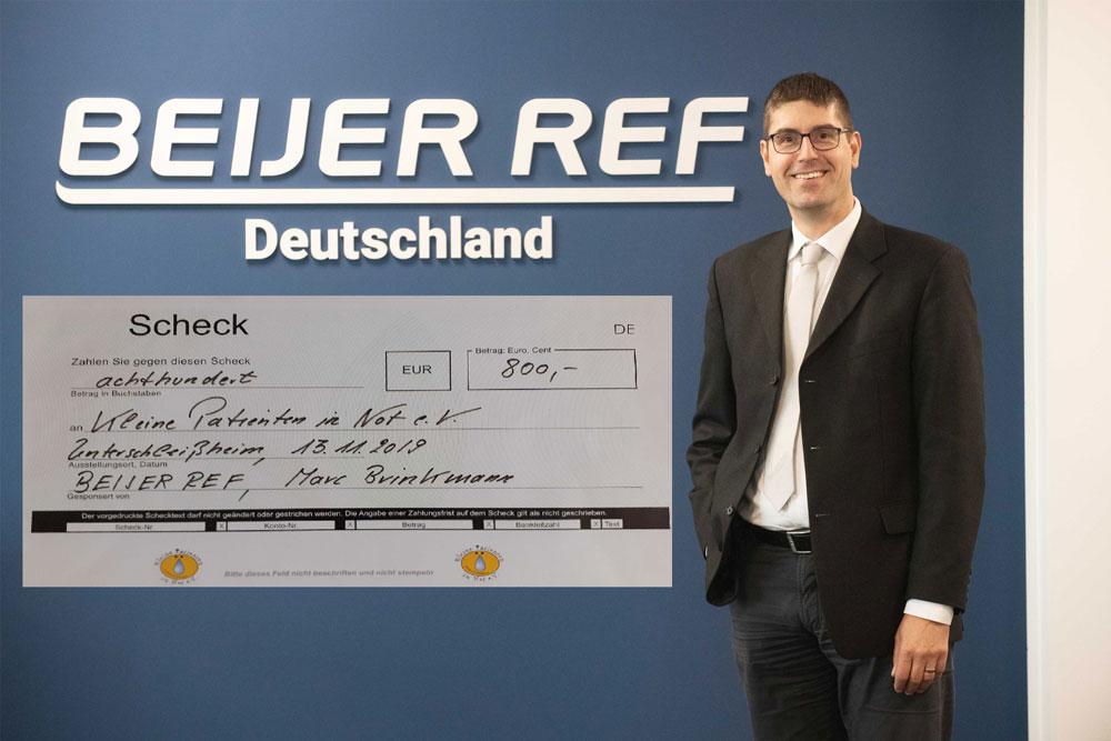 BEIJER REF, Marc Brinkmann, spendet 800,- EURO