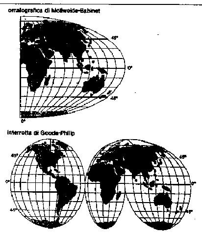 Figura 8.15 - Esempi di rappresentazione di Planisferi