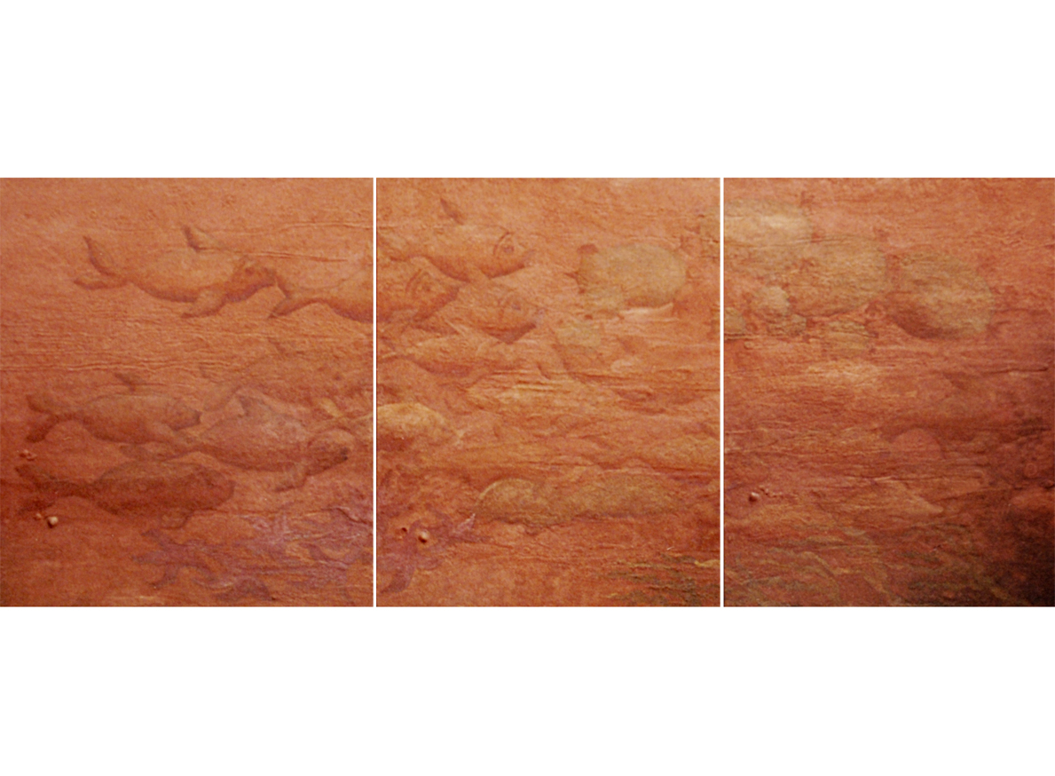 LA MAR, 2003 arenas erosionadas on canvas, 120 x 300 cms (polyptic). SOLD