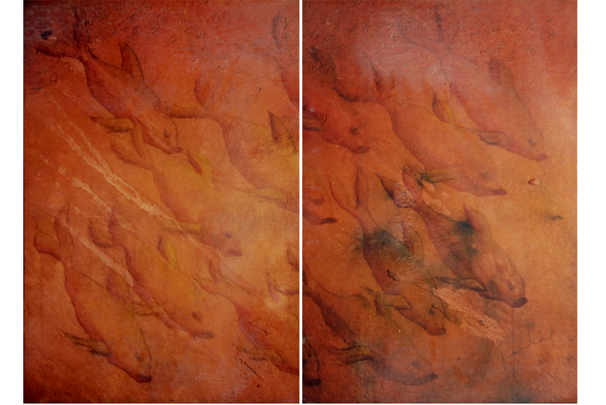 CARDUMEN, 2002 arenas erosionadas on canvas, 100 x 140 cms. SOLD