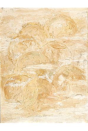 PISO EL HIELO BAJO EL SOL, 2007 masa-roca on MDF, 16 x 12. SOLD