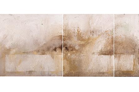 SOBRE EL MUELLE ESPERO LA CASA FLOTANTE, 2007 masa-roca on MDF (polyptyc), 40 x 87. SOLD