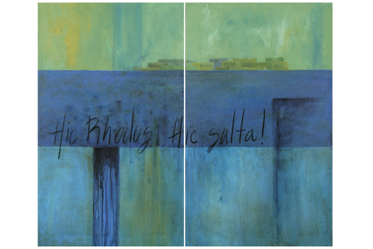 HIC SALTA, 2006 acrylic on canvas, 90 x 110 cms (diptych). Private Collection