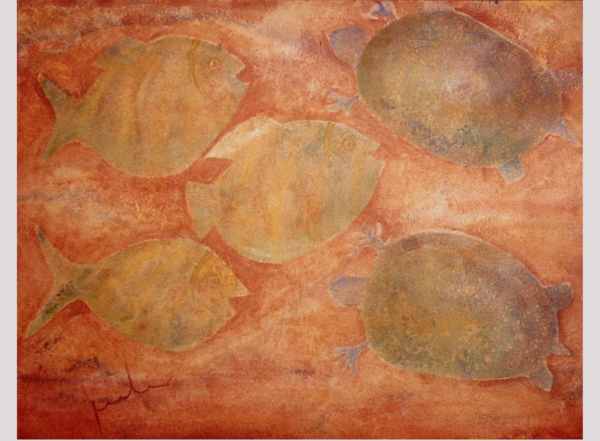 PECES Y TORTUGAS EN LA MAR, 2002 arenas erosionadas on canvas, 70 x 90 cms. Private Collection