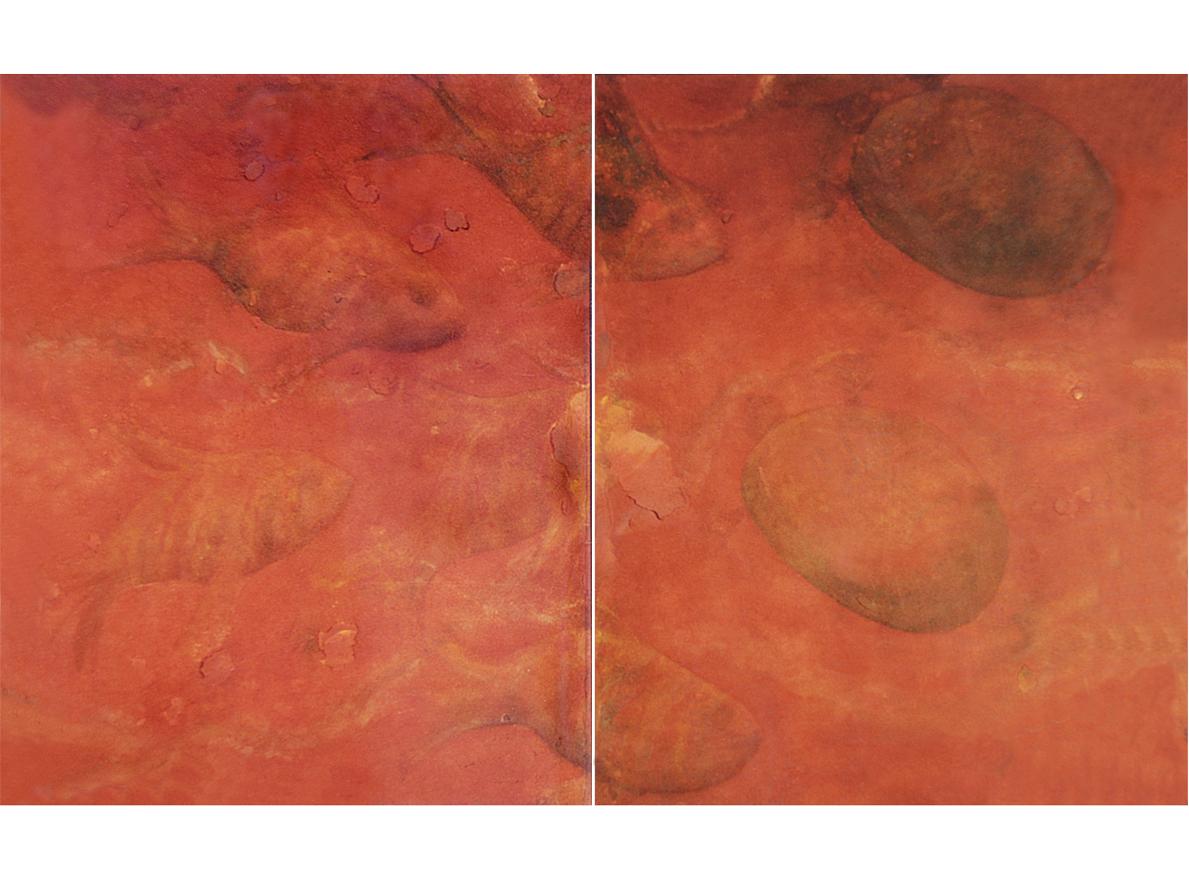 PETROGLIFOS DE LA MAR, 2002 arenas erosionadas on canvas, 90 x 140 cms (diptych). SOLD