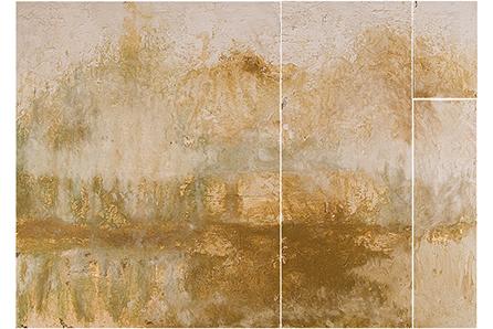 PISO LA TIERRA Y EL AGUA, 2007 masa-roca on MDF (polyptyc), 40 x 55. SOLD