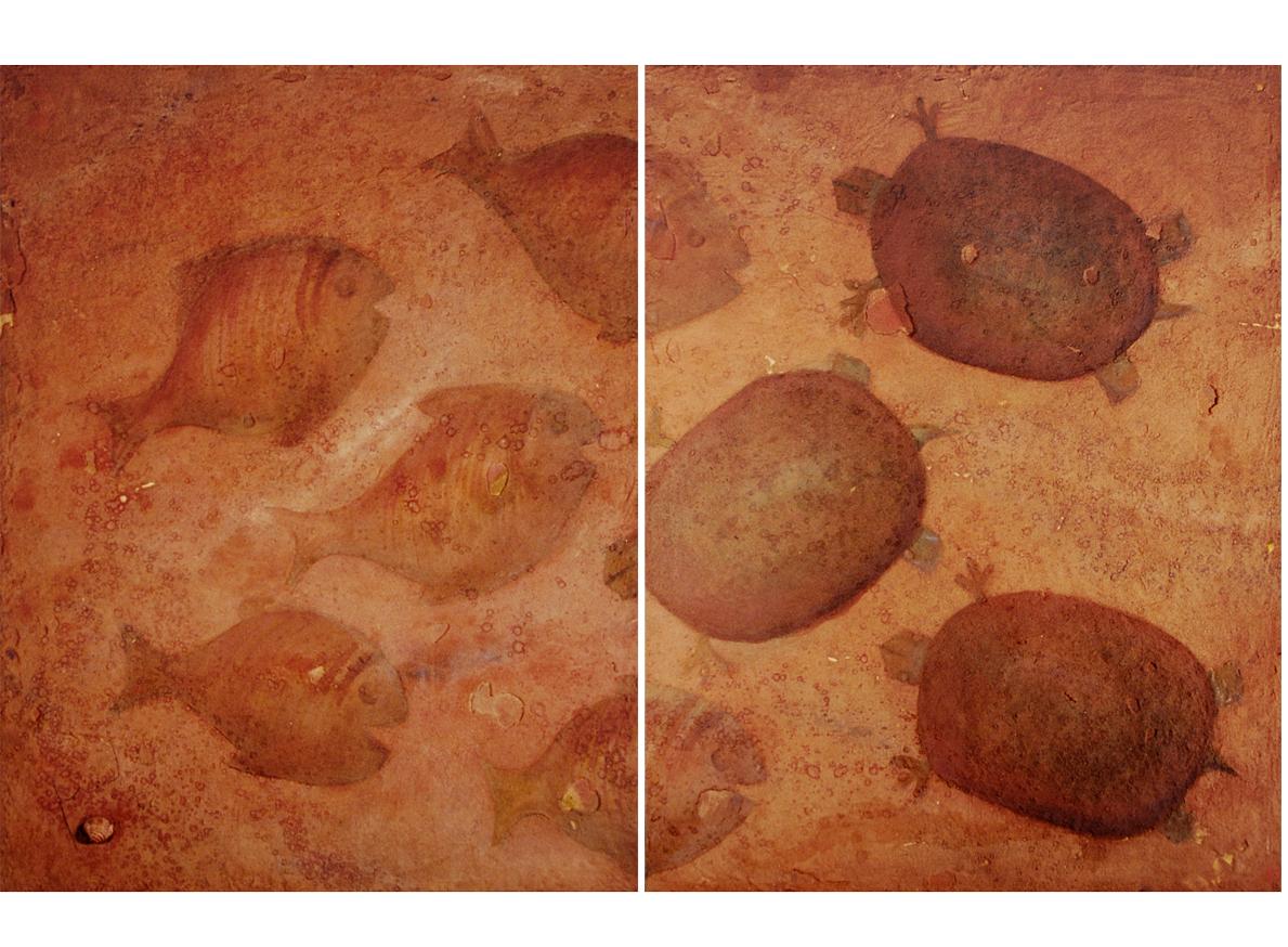 PECES Y TORTUGUILLAS EN LA MAR, 2002 arenas erosionadas on canvas, 90 x 140 cms (Diptych). SOLD