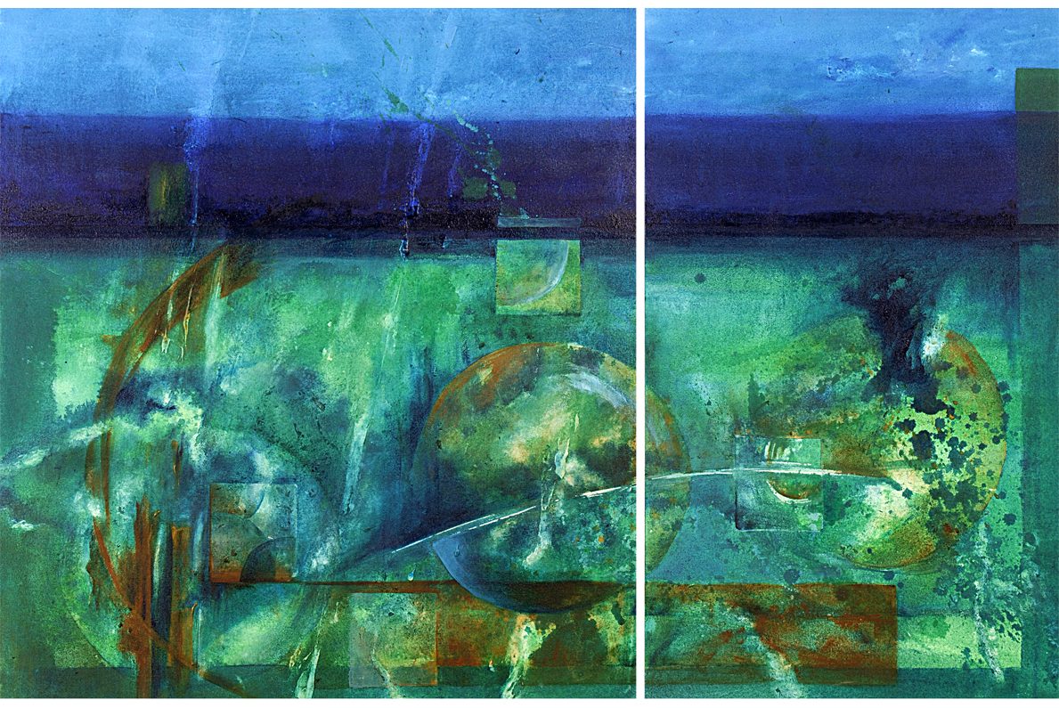 MARIA, 2006 acrylic on canvas, 90 x 137 cms (diptych). Private Collection