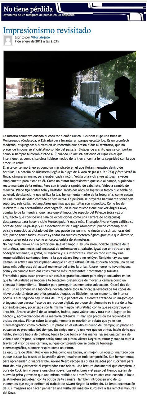 La Voz de Galicia, January 2012