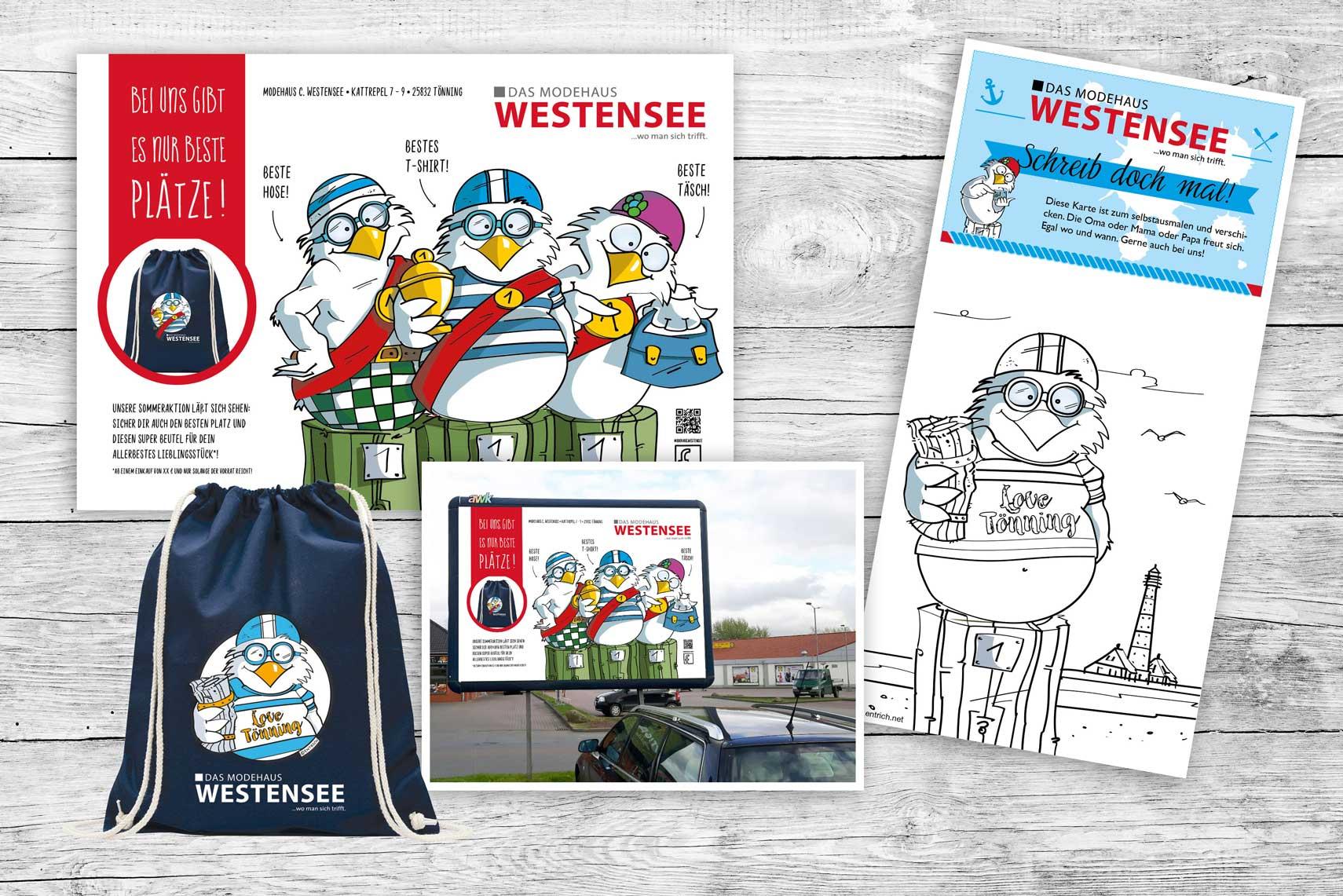 Großes Paket für das Modehaus Westensee in Tönning: Eine große Plakatwand, bedruckte Beutel und Flyer unterstützen die Aktion