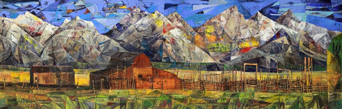 Felsengebirge, 2012, Mischtechnik auf Leinwand, 80 x 250 cm