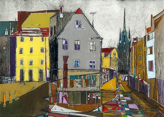 Leipziger Straße, Radierung, koloriert, 24 x 30 cm