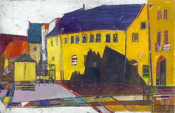 Ausspanne, Radierung, koloriert, 19 x 29 cm