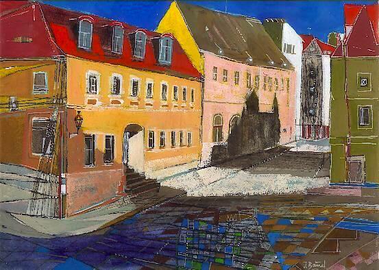Händelhaus, Radierung, koloriert, 23 x 30 cm