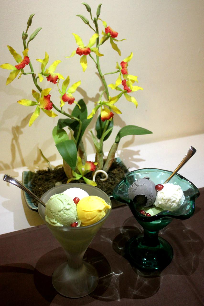 Unsere Eissorten Kokos, Mango, Sesam und Grüner Tee
