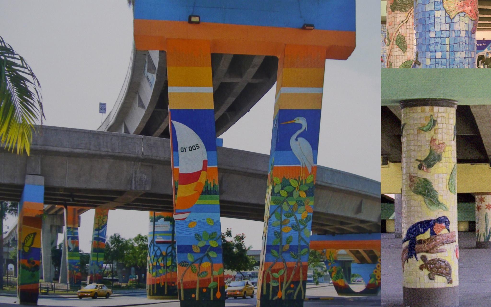 """Oeuvres faites de céramique sur des piliers de viaducs à Quayaquil; sujet du livre """"Un museo a aire libre"""""""