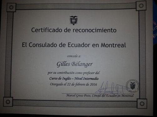Certificat de reconnaissance -Certificate of recognition