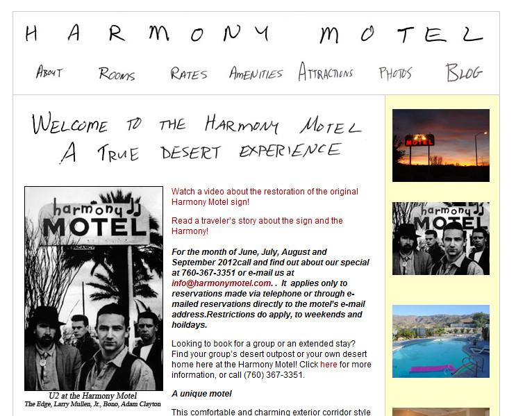 Homepage des Harmony Motels mit dem berühmten U2-Shot von Anton Corbijn (Mit freundlicher Genehmigung von  Ash Maharaj, harmonymotel.com)