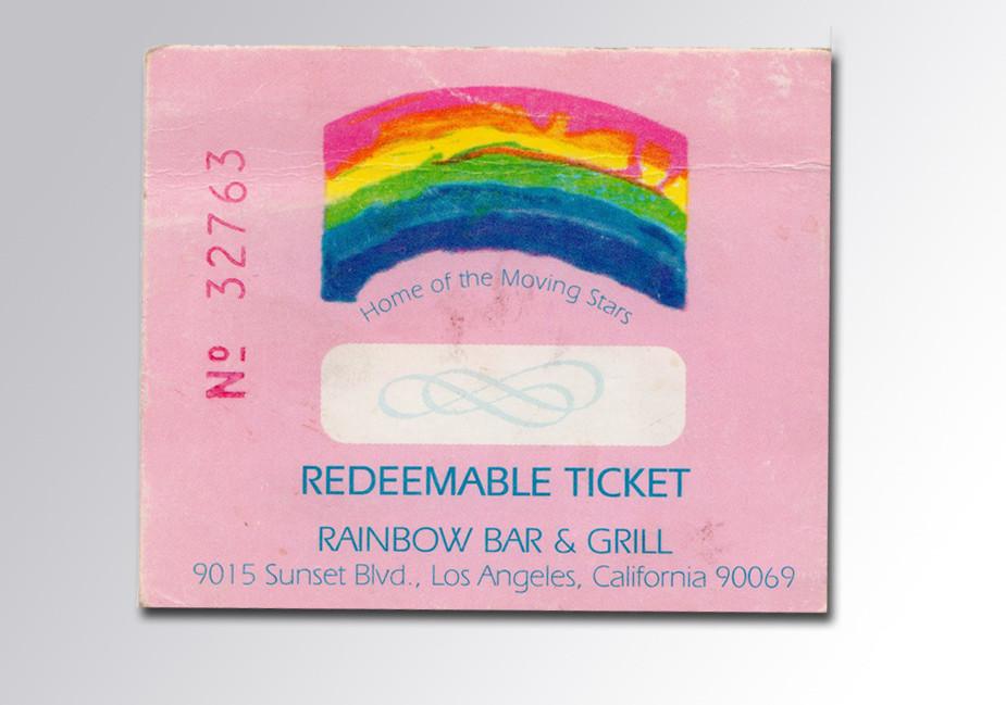 Redeemable Ticket für das Rainbow aus dem Jahr 2002 (Foto: Christian Düringer)