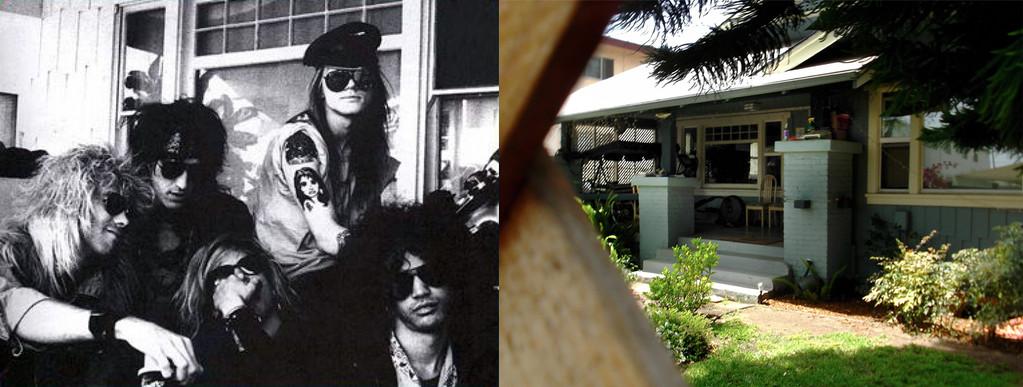 Guns N'Roses auf der Porch des Hell House 1986 (Foto: Robert John) und das Hell House 2012 (Foto: Zigzag)