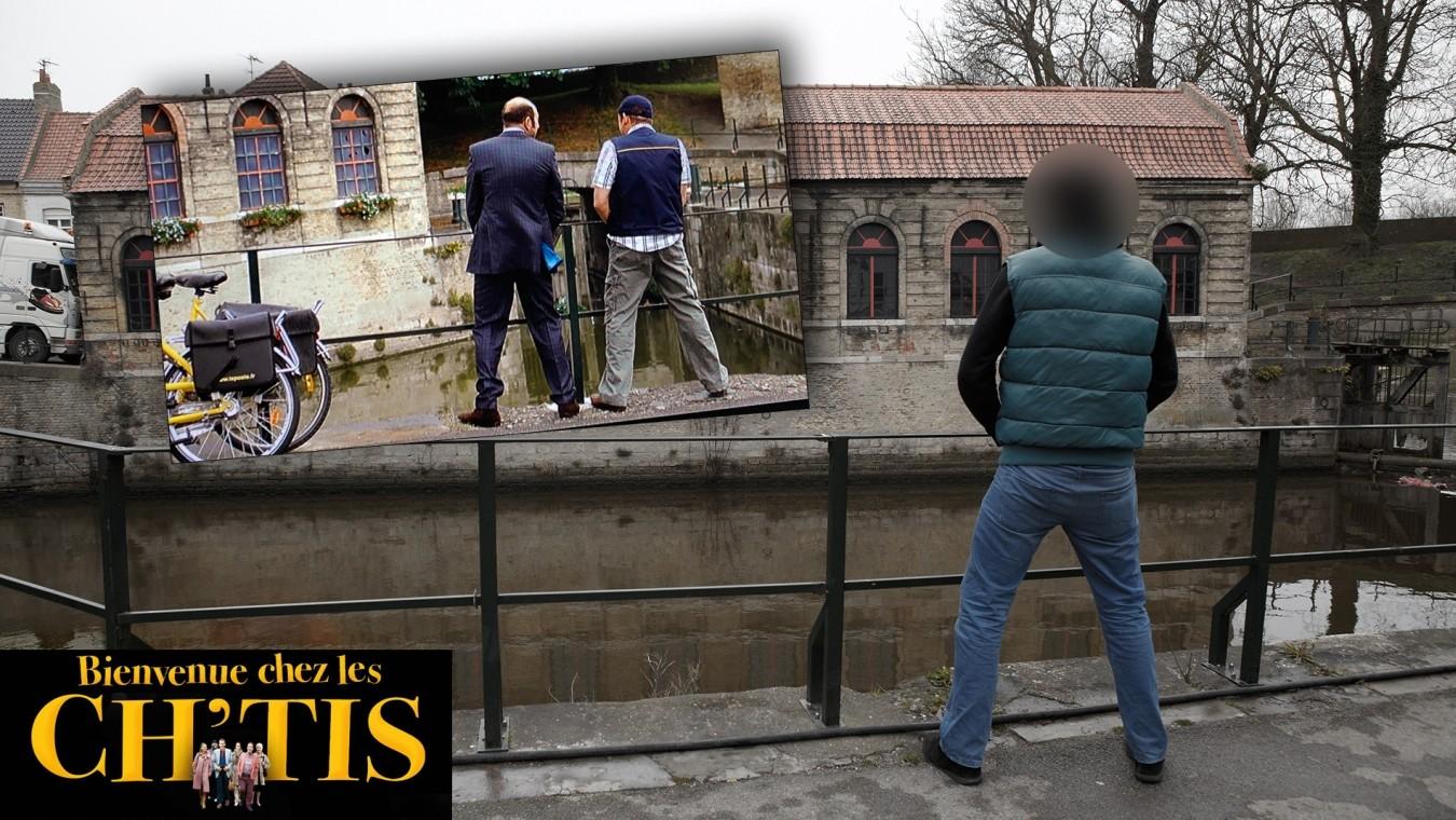 """Am alten Schlachthof von Bergues pinkeln Philippe und Antoine während ihrer kleinen """"Sauftour"""" durch Bergues in den Kanal."""
