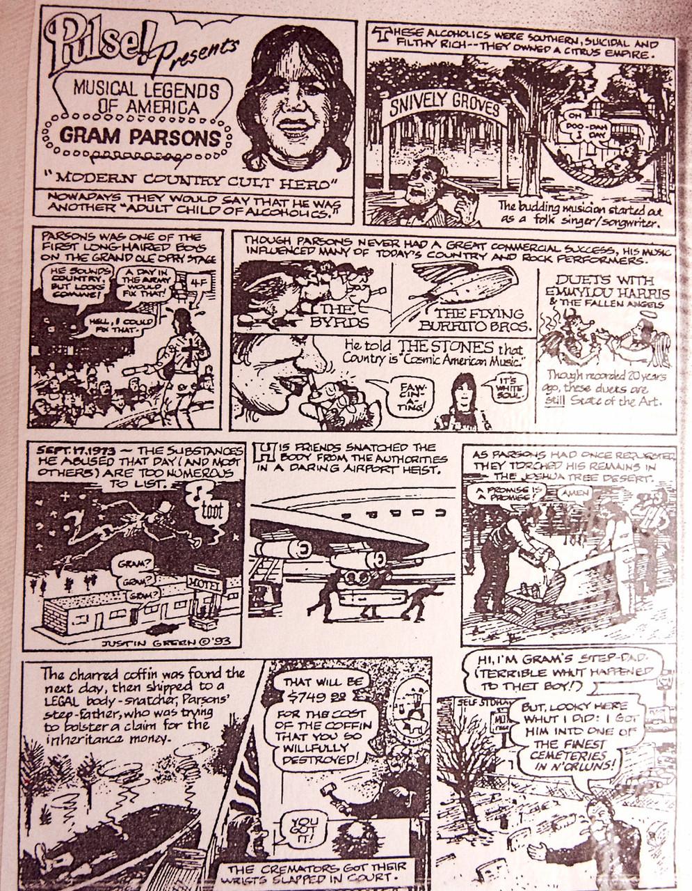 ..und dieser Comic, der illustriert, wie Phil Kaufman Parsons Sarg stahl und ihn am Cap Rock im Joshua Tree Nationalpark verbrannte. (Foto: Christian Düringer)