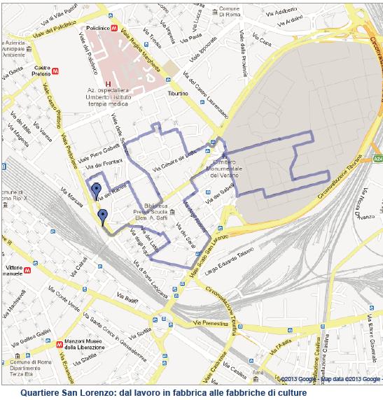 Cartina Dettagliata Roma.Quartiere San Lorenzo Roma A Piedi