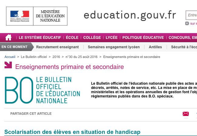 Texte de l'éducation nationale pour l'accueil des enfants handicapés.