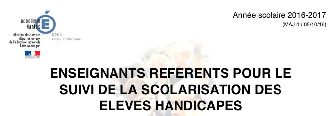 Liste des enseignants référents (public et privé): académie de Nantes.