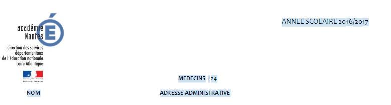 Liste des médecins scolaires du 44.
