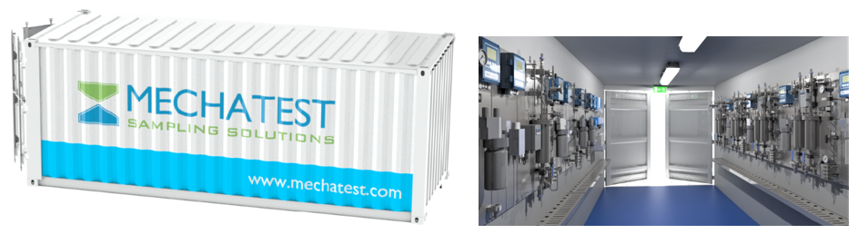 Containerized Steam and Water Analysis Systems - SWAS, Mechatest SWAS Rack - Steam & Water Analysis Systems, steam condensate analyser system, rack mounted, container shelter