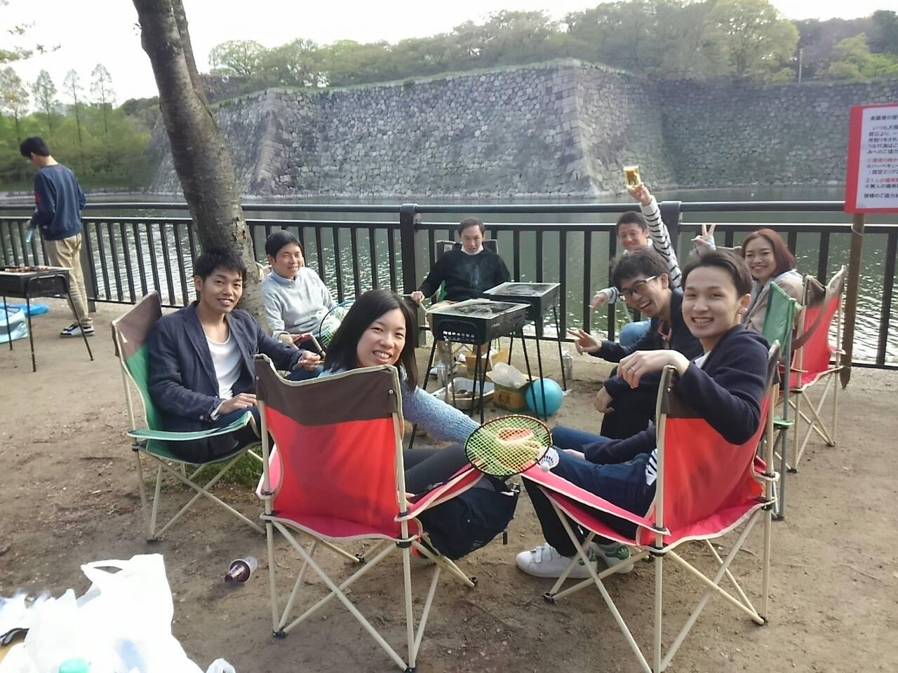 大阪城の天守閣を目の前にBBQ♪