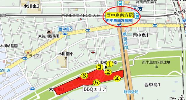 西中島地区BBQマップ