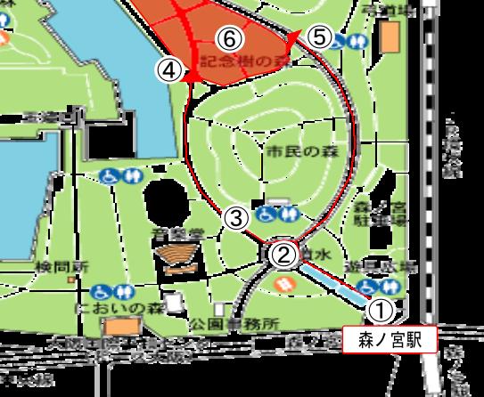 森ノ宮駅からBBQエリアまでのマップ