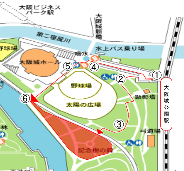 大阪城公園駅からBBQエリアまでのマップ