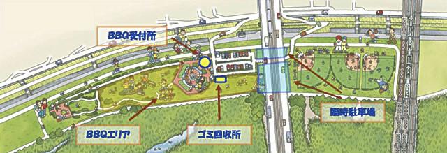 淀川河川敷西中島地区BBQエリア