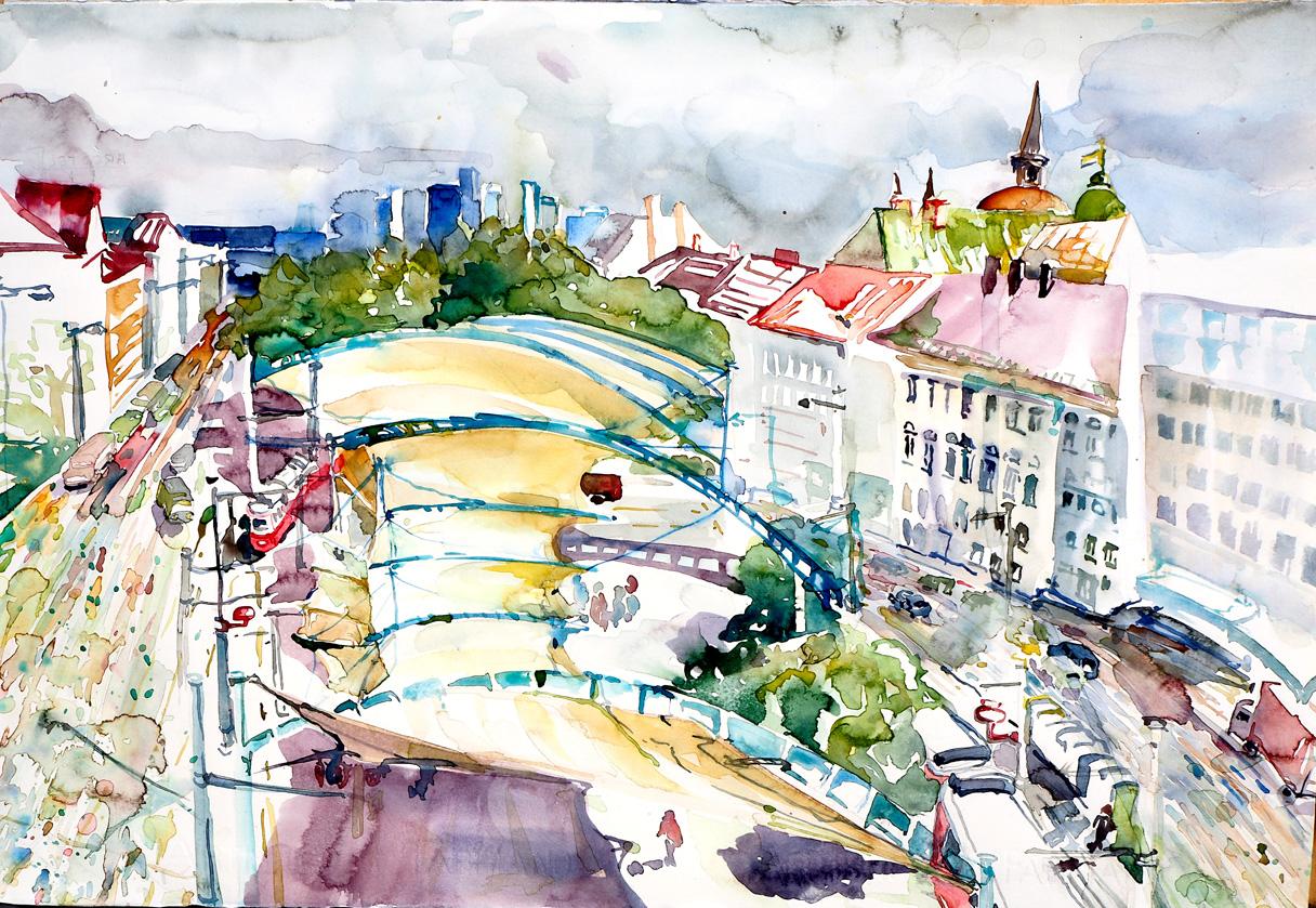 Urban Loritz Platz, Wien, Aquarell