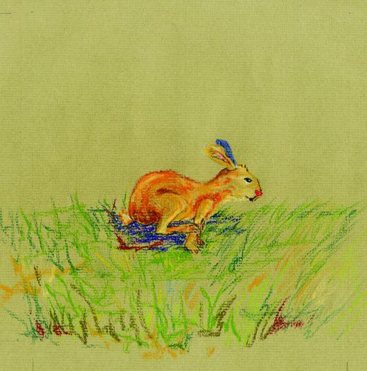 """Entwurf für ein Kinderbuch """"Es war einmal ein Hase, mit einer roten Nase..."""""""