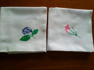 布巾(紫陽花と撫子)