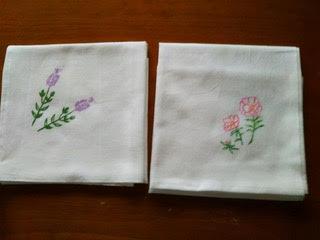 布巾(松葉ぼたんとラベンダー)