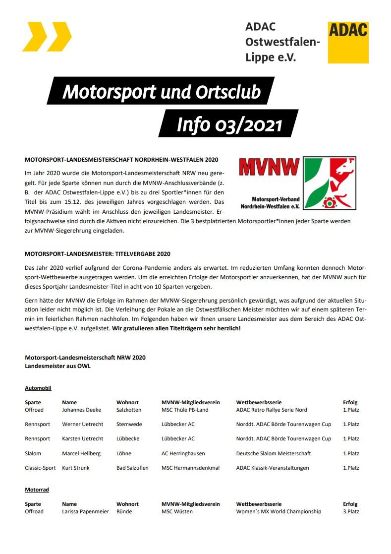 Motorsport und Ortsclub Info 03 2021