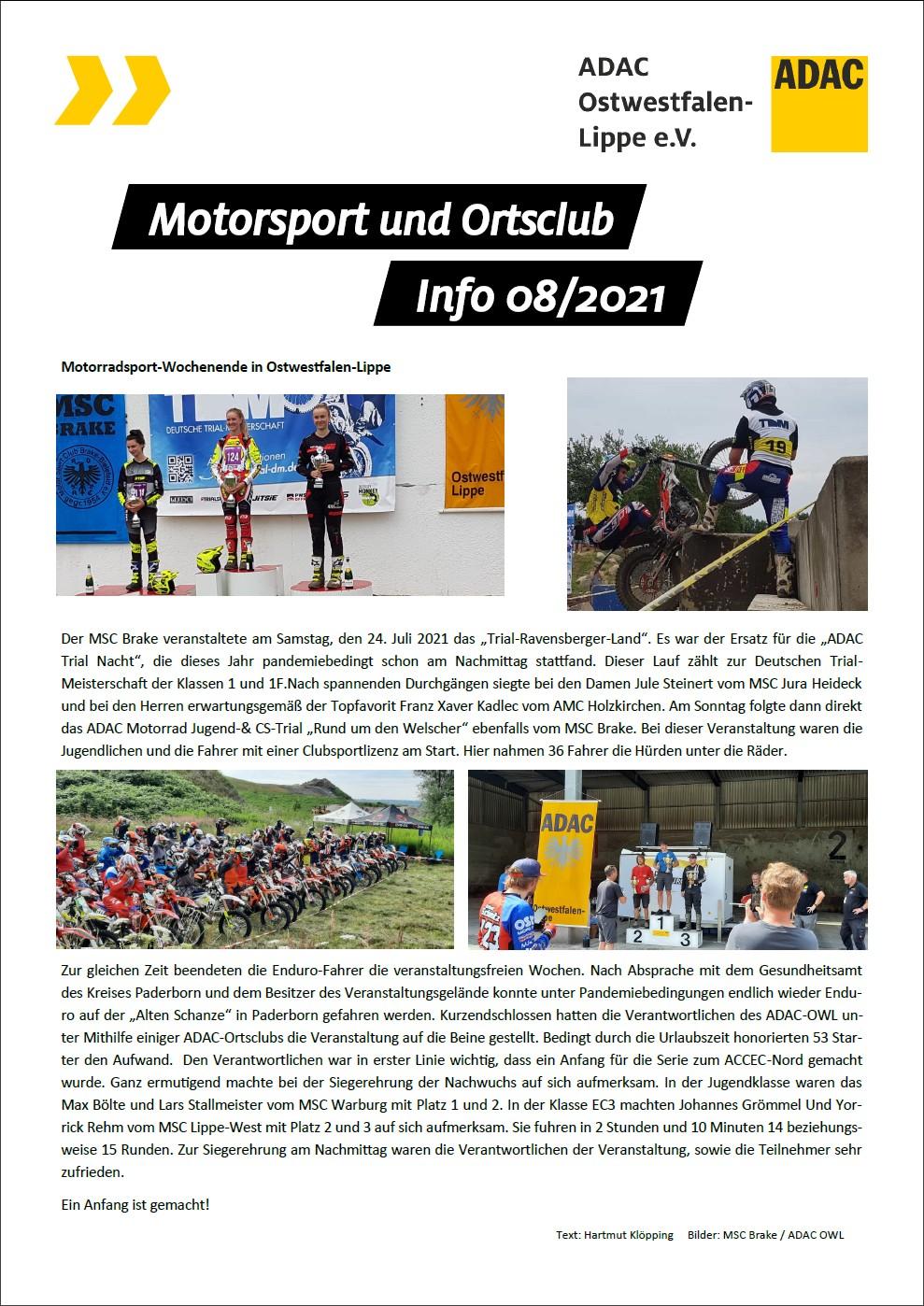 Motorsport und Ortsclub Info 08 2021